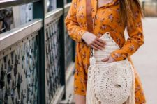 With floral shirtdress