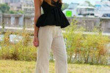 With hat, white linen trousers and high heels