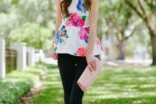 With jeans, lace up sandals and pale pink clutch