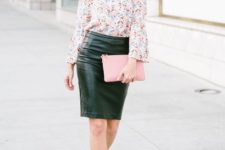 With leather pencil skirt, pale pink clutch and black ankle strap shoes