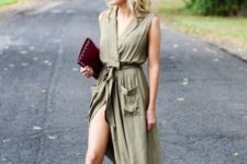 With marsala clutch and fringe high heels