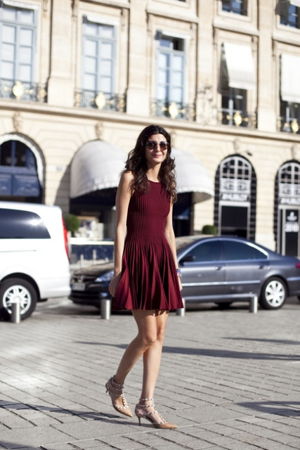 With marsala pleated mini dress
