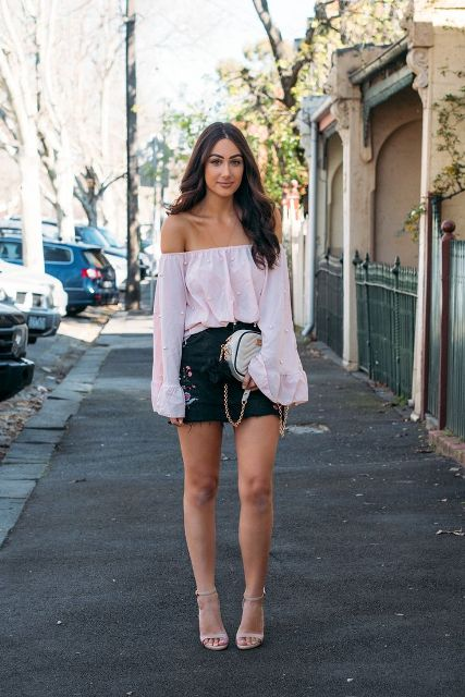 With mini skirt, chain strap bag and beige ankle strap high heels