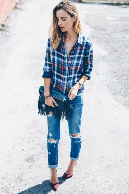 With plaid shirt, distressed jeans and marsala pumps