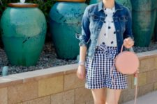 With polka dot shirt, denim jacket, pale pink bag and white sneakers