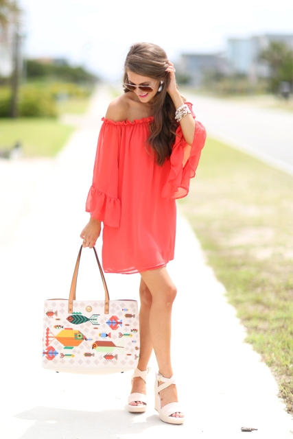 With printed tote bag and white platform sandals