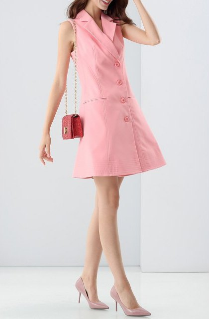 With red mini bag and pale pink pumps