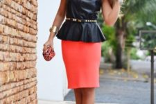 With red skirt, printed mini clutch and black shoes