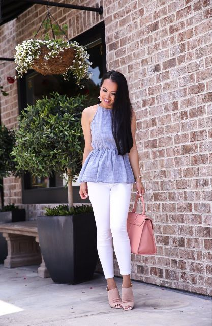 With white crop pants, pale pink bag and beige cutout shoes