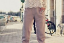 With white lace blouse and white ankle strap shoes
