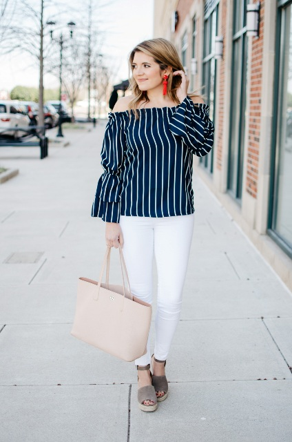With white pants, beige tote bag and suede sandals