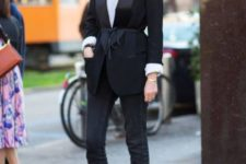 With white shirt, cropped jeans and black belted blazer
