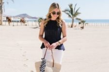 With white skinny pants, beige tote bag and flat sandals