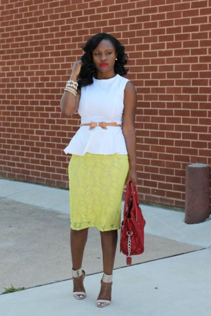 With yellow lace skirt, red bag, brown belt and beige ankle strap shoes