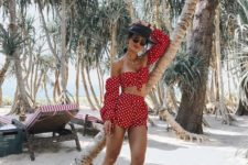 a beach party look in red and polka dot with an off the shoulder crop top with long sleeves and shorts