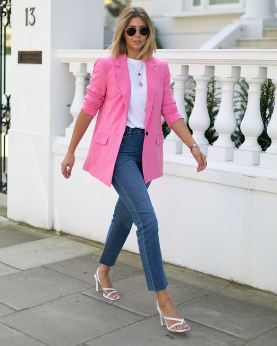 a casual look with a white tee, a hot pink blazer, blue skinnies, white square toe heels