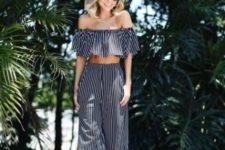 a cool two piece striped vacation look with an off the shoulder crop top and wideleg pants