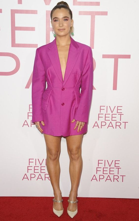 a fitting hot pink blazer as a dress, white and embellished shoes for a gorgeous party look