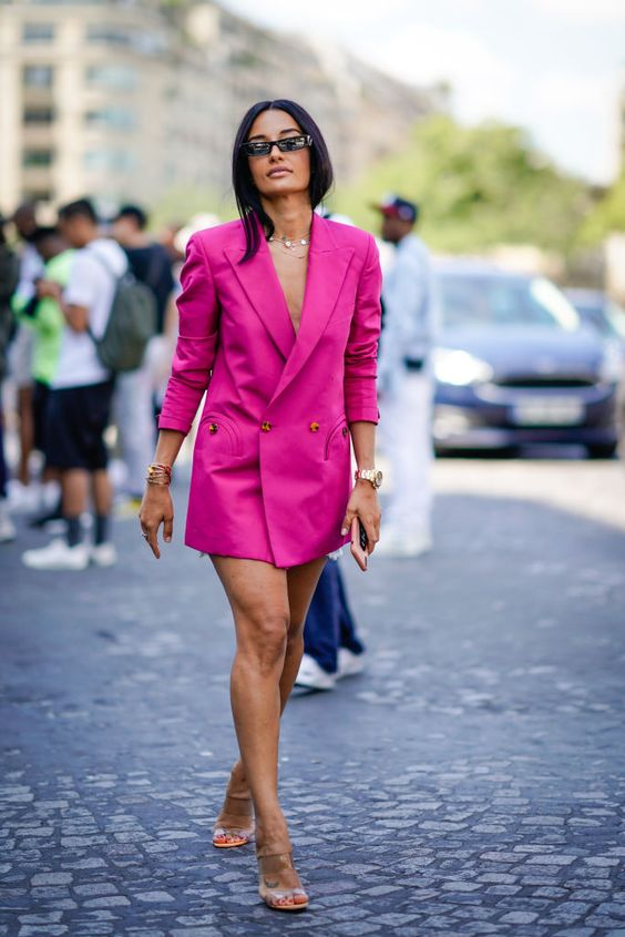 a hot pink blazer dress, tan shoes and layered necklaces for a special occasion or date