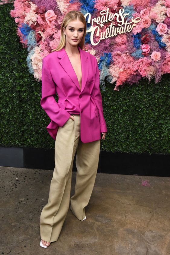 a hot pink blazer, tan linen pants and square toe heels by Rosie Huntington-Whiteley