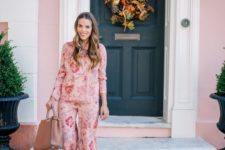 a pink floral pyjamas suit, lavender suede heels and a mauve leather tote for a romantic look