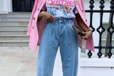 a printed fun tee, blue baggy jeans, floral shoes, a hot pink blazer and a brown clutch