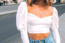 a sexy date look with a white puff sleeve crop top, blue high waisted jeans is perfect