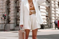 a white and nude look with a white short suit, a nude t-shirt, white heels and a white and nude bag