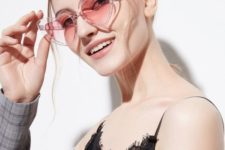 fun heart-shaped pastel pink sunglasses will accent every, even most casual look