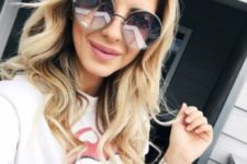 oversized lavender sunglasses with a light-colored frame is a modern idea to try