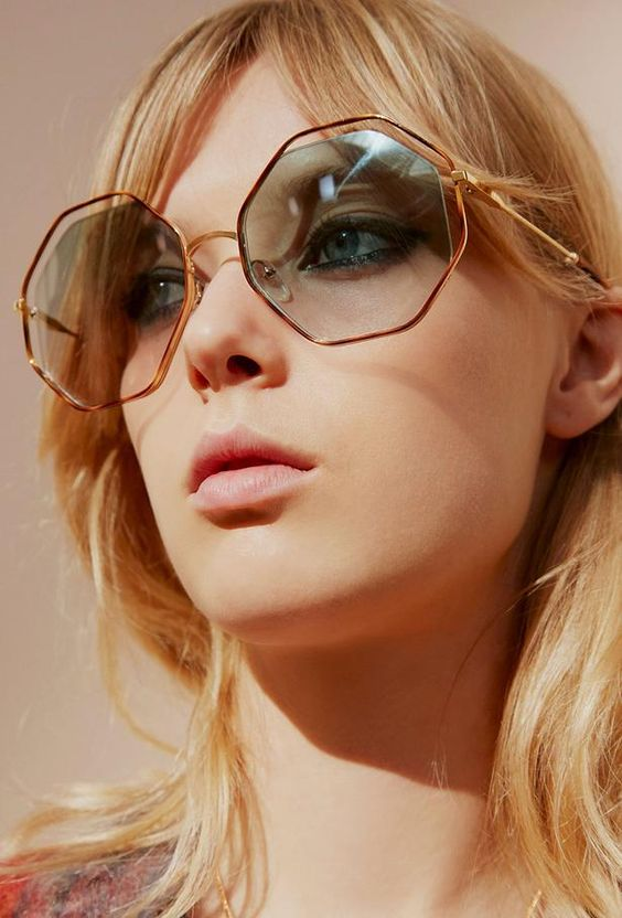 statement soft blue honeycomb sunglasses in copper frames will make your look ultra-bold