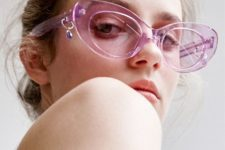 such clear purple sunglasses in a wide frame and cat-eye shape will make a trendy statement in your look