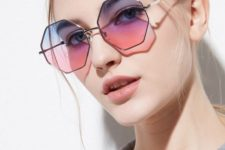 unique lavender to pink polygonal glasses are sure to make your look super unusual