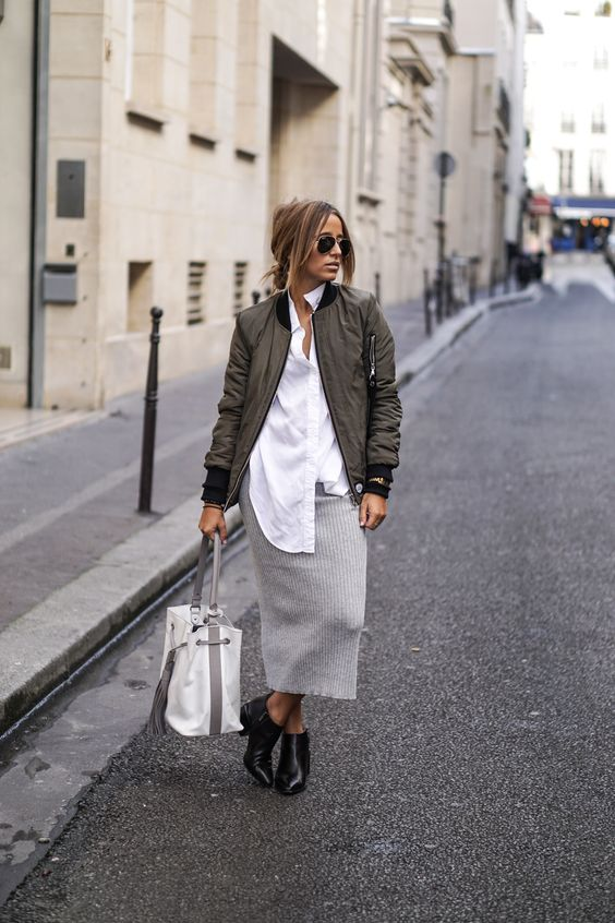 a minimalist fall look with an oversized white shirt, a grey midi skirt, black booties, a grey bomber jacket and a tote
