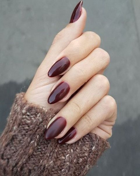 Picture Of subtle burgundy ombre oval nails are a bold solution to rock in 2020