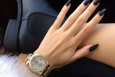 12 long oval matte navy nails are a chic and bold solution to wear if you love long nails