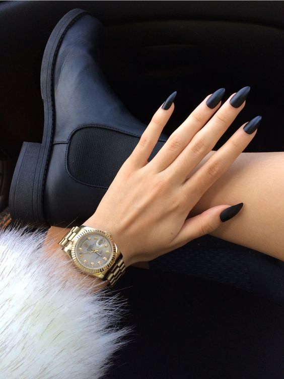 long oval matte navy nails are a chic and bold solution to wear if you love long nails