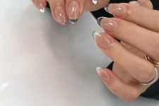 13 nude nails with clear acrylic tips are a lovely modern idea to try right now
