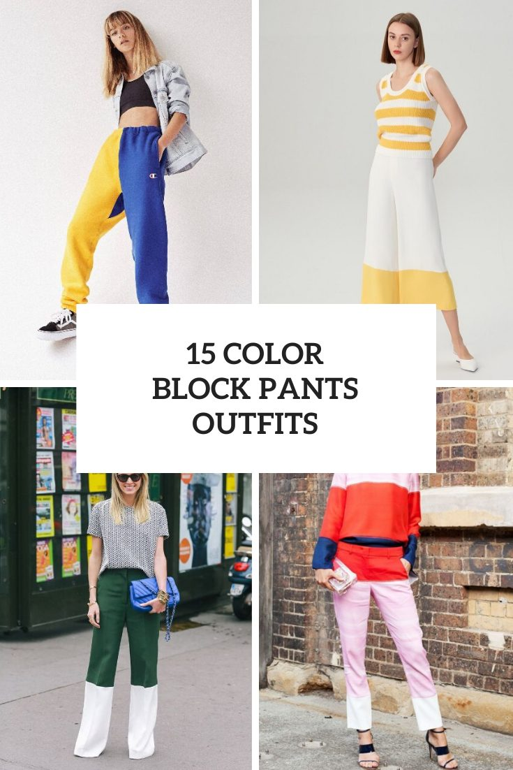 Outfits With Color Block Trousers