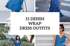 15 Outfits With Denim Wrap Dresses
