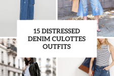 15 Outfits With Distressed Denim Culottes