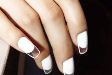 16 adorable white square nails with clear tips are a stylish modern manicure to rock
