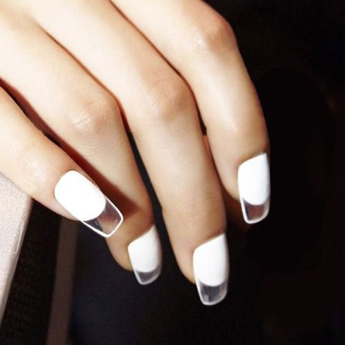 adorable white square nails with clear tips are a stylish modern manicure to rock