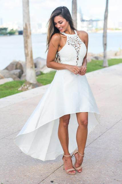 With beige high heeled sandals