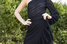 With black high-waisted wrap ruffled skirt