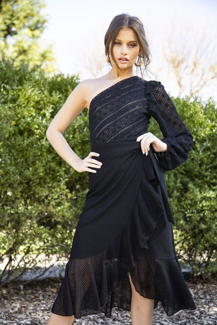 With black high-waisted wrap ruffled skirt