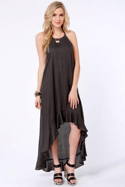 With black leather platform sandals