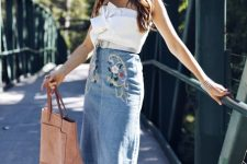 With bow top, tote bag and high heels