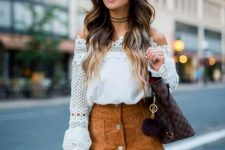 With brown suede mini skirt and checked tote bag
