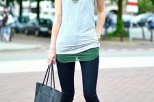 With cropped jeans, black tote bag and sleeveless top